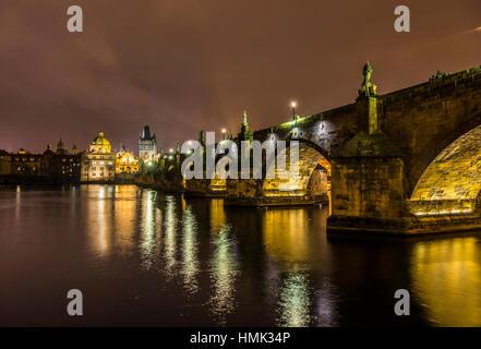 Moldova, Charles Bridge, Bridge Tower, night scene, historic centre, Prague, Bohemia, Czech Republic - Stock Photo