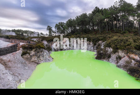Green Devil's Bath thermal lake in Wai-O-Tapu thermal area, Waiotapu, Rotorua, Waikato Region, New Zealand - Stock Photo