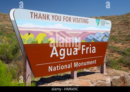 Entrance sign, Agua Fria National Monument, Arizona. - Stock Photo