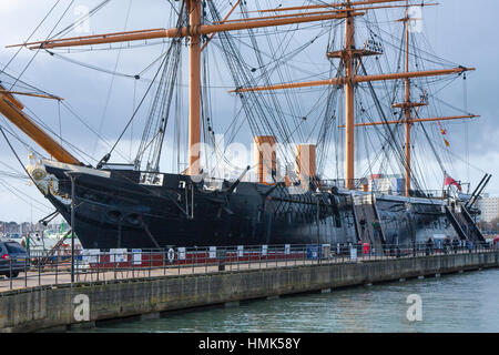 HMS Warrior - 40-gun steam-powered armoured frigate built for the Royal Navy in 1859–61, Portsmouth Historic Docks, - Stock Photo