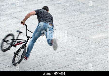 Boy, BMX making a skateparck.Barcelona, Spain - Stock Photo