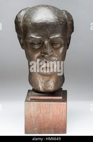 Bust of Rudolph Loos, patinated plaster sculpture 1957 by French sculptor Jean Henninger. - Stock Photo