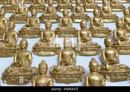 Hall with small donor statues in a Kuching Buddhist Centre, Kuching, Sarawak, Malaysia. - Stock Photo