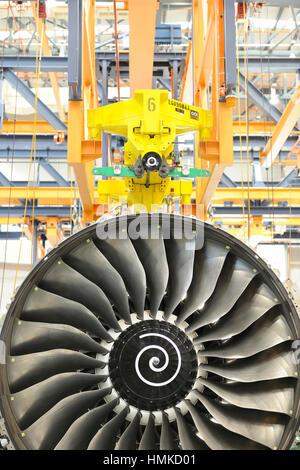 Rolls-Royce Trent 900 jet aero-engine maintenance and overhaul at SAESL Singapore Aero Engine Services Pte Ltd - Stock Photo