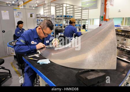 Rolls-Royce Trent jet aero-engine maintenance and overhaul at SAESL Singapore Aero Engine Services Pte Ltd - Stock Photo