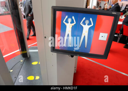 screen L3 Communications ProVision ATD millimetre radiowave body-scanner at Counter Terror Expo 2010 at Olympia - Stock Photo