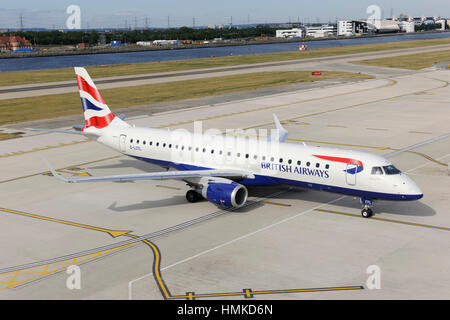British Airways BA CityFlyer Embraer 190LR taxiing at London City - Stock Photo