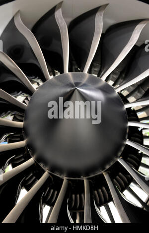 engine front fan blades and spinner of an iae v2527 a5 jet
