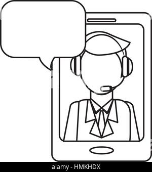 man headphone smartphone bubble icon, vector illustration - Stock Photo