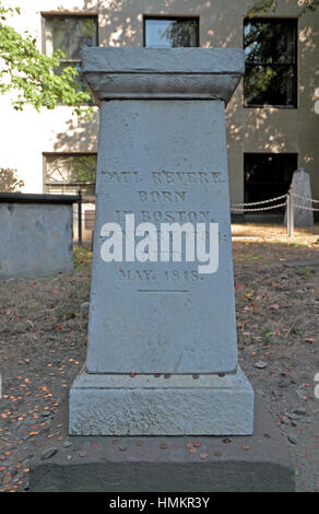 Grave of Paul Revere, Old Granary Burial Ground, Boston, Massachusetts, United States. - Stock Photo