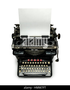 Typewriter with sheet of paper, isolated image with copy space for your text. - Stock Photo