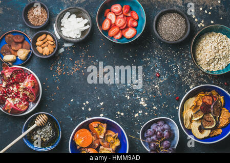 Ingredients for healthy breakfast, copy space, food frame - Stock Photo