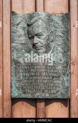 Memorial plaque at the Thomas Mann House, Nidden, Nida, Neringa, Curonian spit, Lithuania, Baltic States, Europe - Stock Photo