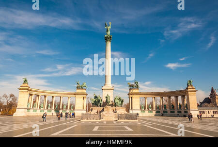 BUDAPEST, HUNGARY - FEBRUARY 22, 2016: Millennium Monument on the Heroes' Square or Hosok Tere is one of the major - Stock Photo
