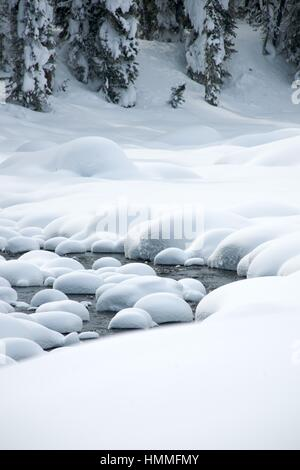 Ice free snow-bound mountain river in winter - Stock Photo