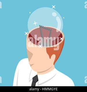 Flat 3d isometric businessman with light bulb in his head, idea concept - Stock Photo
