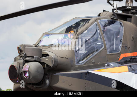 GILZE-RIJEN, NETHERLANDS - JUNE 20: Dutch Air Force AH-64 Apache about to land at the Royal Netherlands Air Force - Stock Photo