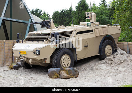 GILZE-RIJEN, THE NETHERLANDS - JUNE 20: Dutch army Fennek armoured reconnaissance vehicle at the Dutch Air Force - Stock Photo