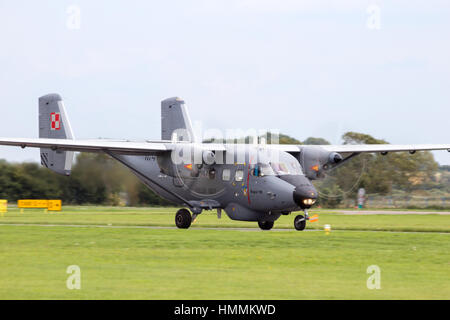 Darlowo, Poland - Aug 22, 2014: Polish Navy PZL M28 Skytruck taking off. The M28 is a license-built Antonov An-28, - Stock Photo