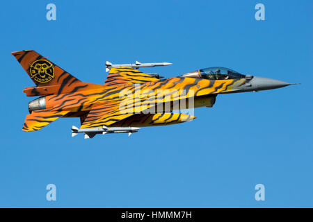 GILZE-RIJEN, THE NETHERLANDS - SEP 7, 2016: Special painted Belgian Air Force F-16 fighter jet making a fast flyby - Stock Photo