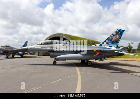 WITTMUND, GERMANY- JUNE 29: Belgian Air Force F-16 fighter jet at the Phantom Pharewell on June 29, 2013 at Wittmund - Stock Photo