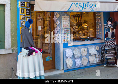 l'estrosa shop selling Burano lace and other items at Burano, Venice, Italy in January - Stock Photo