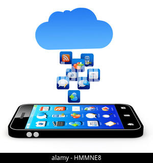 Smartphone with cloud of application icons  Note: All Devices design and all screen interface graphics in this series - Stock Photo