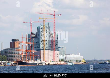 Hamburg, Germany - July 5: The Elbe Philharmonic Hall (Elbphilharmonie) in Hamburg, Germany under construction on - Stock Photo