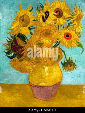 Van Gogh Sunflowers. Sunflowers by Vincent van Gogh (1853-1890), oil on canvas, 1888/9, - Stock Photo