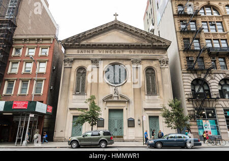 Exterior facade of the Saint Vincent De Paul church in Manhattan, New York, USA - Stock Photo