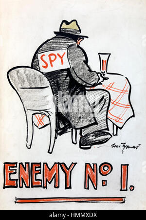 BERT THOMAS (1883-1966) Welsh cartoonist. One of his humorous WW2 posters. - Stock Photo