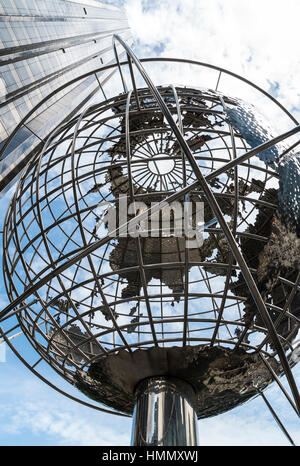 Looking upwards at the Trump International Hotel and Tower and steel unisphere globe at Columbus Circle, New York, - Stock Photo