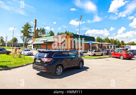 TVER REGION, RUSSIA - JUNE 26, 2016: McDonald's fast food restaurant at the highway Moscow - St. Petersburg. McDonald's - Stock Photo