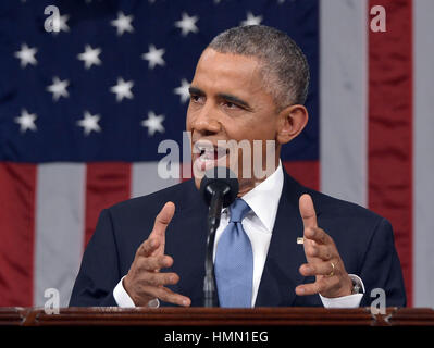 Washington, District of Columbia, USA. 21st Jan, 2015. US President Barack Obama delivers the State of The Union - Stock Photo