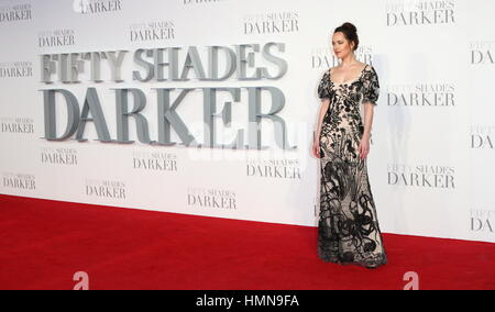 London, UK, UK. 9th Feb, 2017. Dakota Johnson attends the UK Premiere of 'Fifty Shades Darker' at Odeon Leciester - Stock Photo