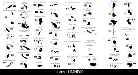 Countries of North and South America with borders, flags and capitals - Stock Photo
