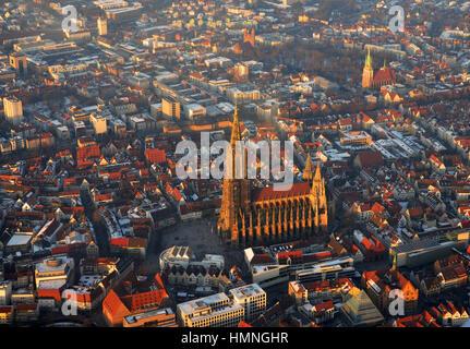 Aerial View of Ulmer Münster in Ulm, Baden-Wuerttemberg, Germany - Stock Photo