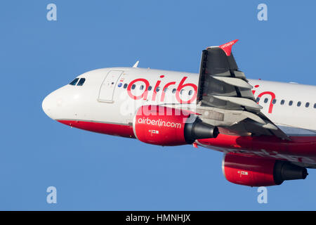 DUSSELDORF, GERMANY - DEC 16, 2016: Airbus A319 from Air Berlin taking off from Dusseldorf airpor - Stock Photo