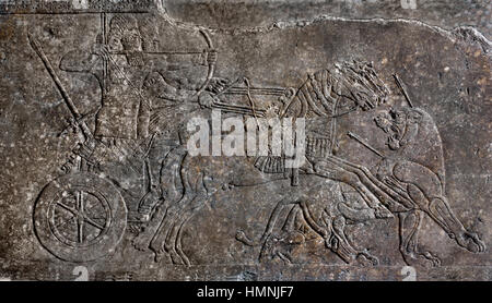 Relief depicting a lion hunt (orthostat) Assyrian King Ashurnasirpal II (883-859 BC) Northwest Palace at Nimrud - Stock Photo