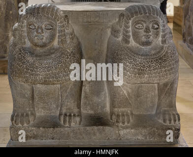 Column base with double sphinx from the entrance of Palace of Zincirli. from the ancient Hittite city of Samal, - Stock Photo