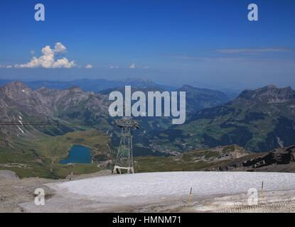 Summer landscape in the Swiss Alps. Lake Trubsee. View from mount Titlis towards Engelberg. - Stock Photo