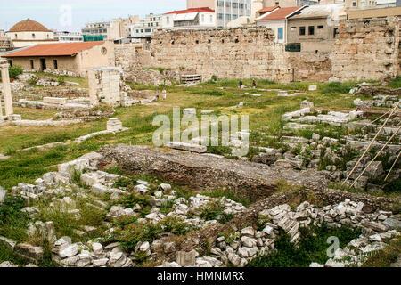 Athens, Greece. Ancient ruins of Roman Agora, city center ...