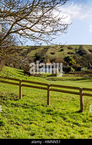 Cottages in the village of Edington, Wiltshire, United Kingdom. - Stock Photo