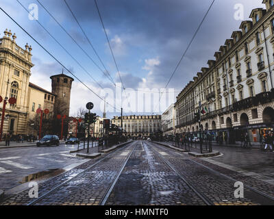 Streets of torino after the rain - Stock Photo