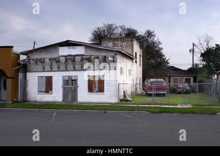 Built in 1948, this is now a decrepit, crumbling structure in downtown Alamo, Texas, USA - Stock Photo