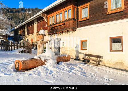 Frozen water of old well in Mauterndorf village, Salzburg Land, Austria - Stock Photo