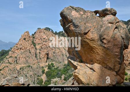 Les Calanches, volcanic red rocks formations mountains, Piana, Corsica Island (France ) - Stock Photo