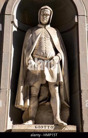 Statue of Giotto in Piazza degli Uffizi in Florence Italy - Stock Photo