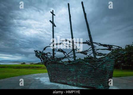 National famine memorial depicting a coffin ship at Murrisk, County Mayo, Ireland - Stock Photo
