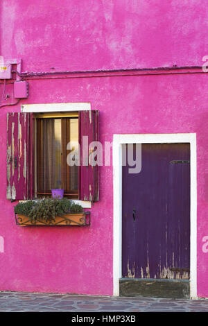 Peeling paint on door and window shutters of purple pink building at Burano, Venice, Italy in January - Stock Photo
